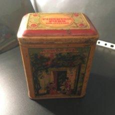 Cajas y cajitas metálicas: ANTIGUA CAJA LITOGRAFIADA - PIMENTON PURO PARA LA EXPORTACION - 12X10X8 CM. ORIGINAL NO REPRODUCCION. Lote 210558742