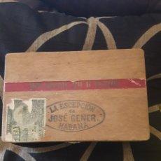 Cajas y cajitas metálicas: ANTIGUA CAJA DE PUROS HABANOS, LA EXCEPCIÓN, DE JOSÉ GENER, HABANA. Lote 212176322