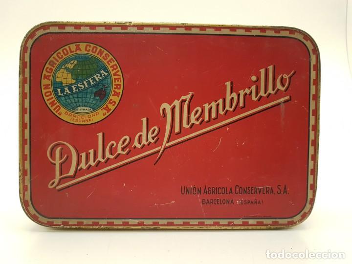 RARA CAJA HOJALATA DULCE MEMBRILLO LA ESFERA, BARCELONA (Coleccionismo - Cajas y Cajitas Metálicas)