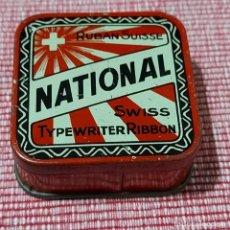 Boîtes et petites boîtes métalliques: ANTIGUA CAJA CINTA MAQUINA ESCRIBIR*NATIONAL*PRECIOSO GRÁFICOS Y COLORES *BUEN ESTADO-MERCADO SUIZA. Lote 213285502