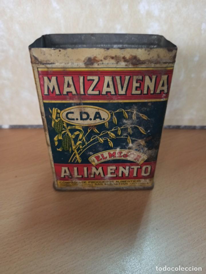 ANTIGUA CAJA HOJALATA LITOGRAFIADA MAIZAVENA BARCELONA 1929 (Coleccionismo - Cajas y Cajitas Metálicas)