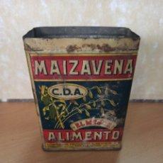 Cajas y cajitas metálicas: ANTIGUA CAJA HOJALATA LITOGRAFIADA MAIZAVENA BARCELONA 1929. Lote 213531887