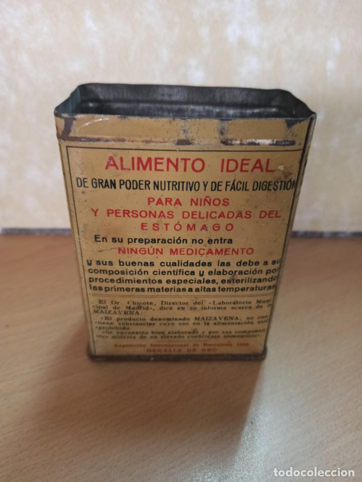 Cajas y cajitas metálicas: ANTIGUA CAJA HOJALATA LITOGRAFIADA MAIZAVENA BARCELONA 1929 - Foto 2 - 213531887