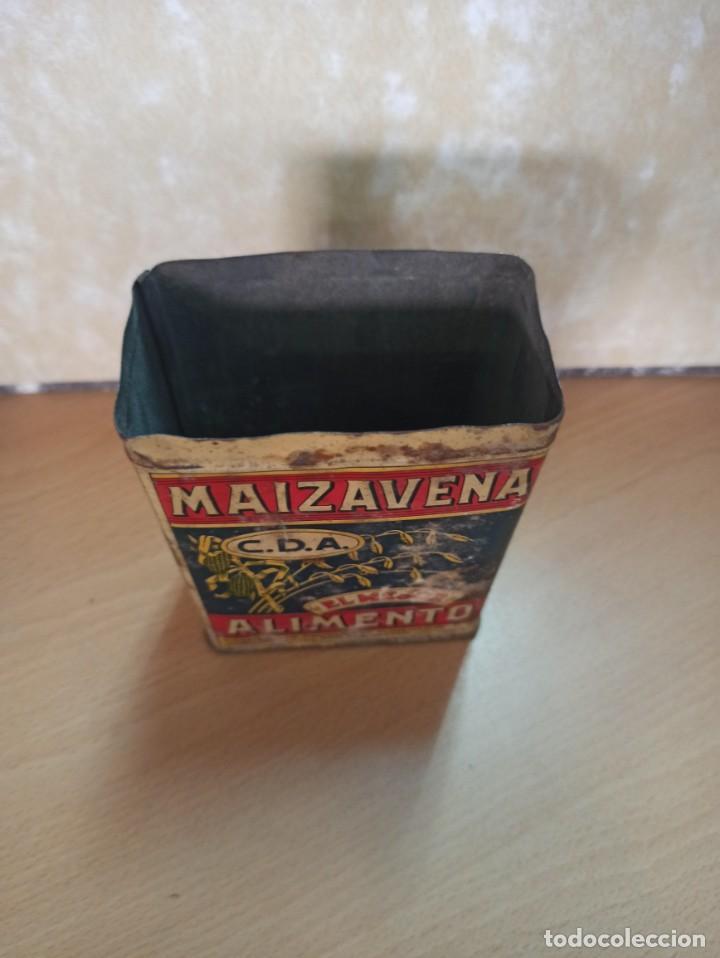 Cajas y cajitas metálicas: ANTIGUA CAJA HOJALATA LITOGRAFIADA MAIZAVENA BARCELONA 1929 - Foto 3 - 213531887