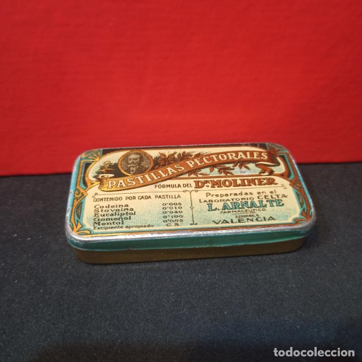 Cajas y cajitas metálicas: LOTE 3 ANTIGUAS CAJAS METALICAS - PASTILLAS PECTORALES FORMULA DEL DR.MOLINER - Foto 2 - 213572096