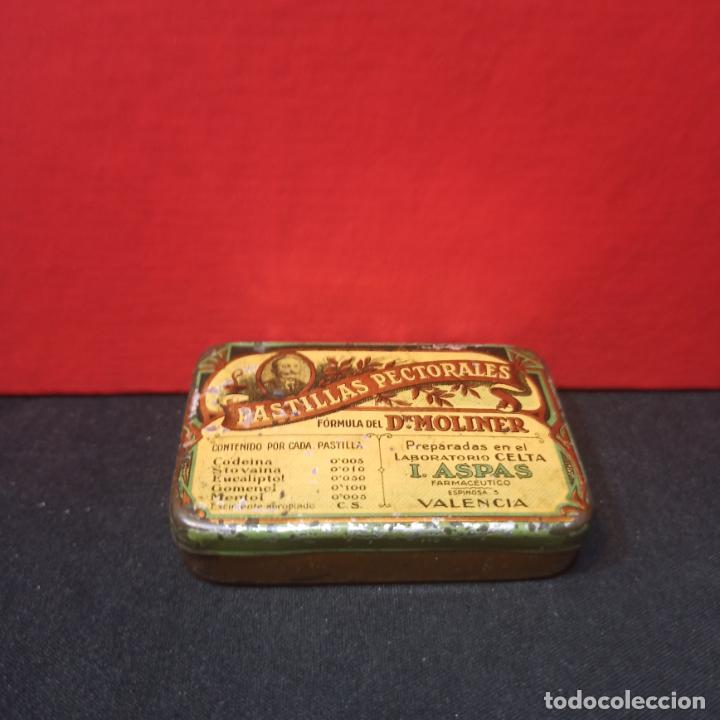 Cajas y cajitas metálicas: LOTE 3 ANTIGUAS CAJAS METALICAS - PASTILLAS PECTORALES FORMULA DEL DR.MOLINER - Foto 4 - 213572096