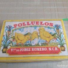 Cajas y cajitas metálicas: ANTIGUA LATA AZAFRANES POLLUELOS NOVELDA VIVA ESPAÑA EL SOLDADO. Lote 214491998