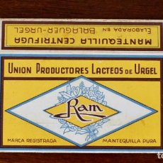 Boîtes et petites boîtes métalliques: ANTIGUA CAJA DE CARTÓN -MANTEQUILLA RAM - BALAGUER URGEL- 10,3 CM.. Lote 216573831