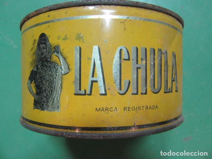 LATA DE CONSERVAS DE SARDINAS EN ACEITE. LA CHULA. LAREDO, VINAROZ Y ALGECIRAS. (Coleccionismo - Cajas y Cajitas Metálicas)