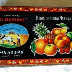 Cajas y cajitas metálicas: CAJA METÁLICA CONSERVAS EL MARINAL. FRUTAS CRISTALIZADAS. HIJOS DE PEDRO MUERZA. NAVARRA.. Lote 218995760