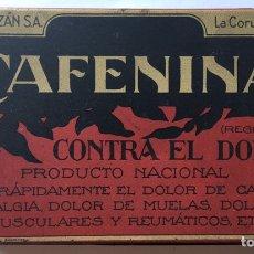 Cajas y cajitas metálicas: ANTIGUA LATA LITOGRAFIADA CAFENINA LABORATORIO ORZAN LA CORUÑA. Lote 219501101