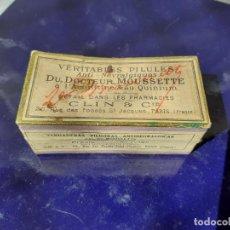 Cajas y cajitas metálicas: CAJA DE FARMACIA VERITABLES PILULES DOCTERU MOUSSETTE CLIN & CIE PARIS// CON CONTENIDO. Lote 219739258