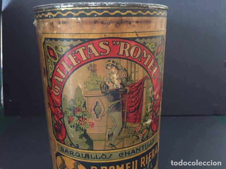 Cajas y cajitas metálicas: ANTIGUA CAJA METALICA - GALLETAS ROMEU - BARQUILLOS (SABADELL) - Foto 2 - 220570183