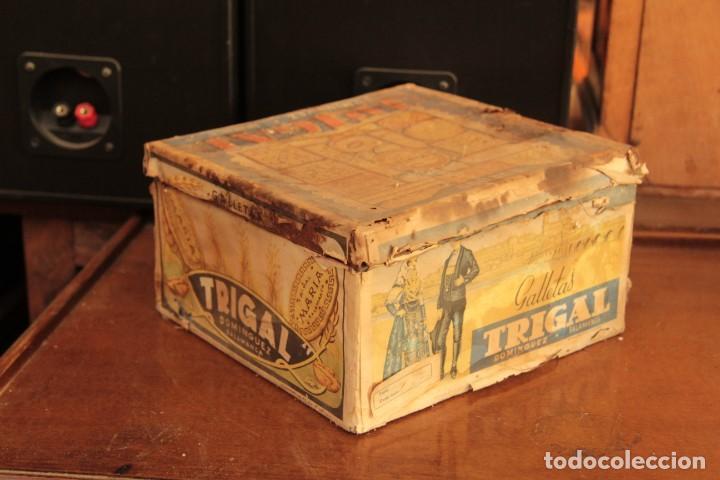 ANTIGUA Y RARISIMA CAJA DE GALLETAS MARIA, CAJA DE METAL GALLETAS TRIGAL , DOMINGUEZ, SALAMANCA (Coleccionismo - Cajas y Cajitas Metálicas)