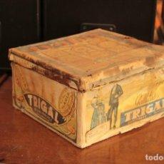 Cajas y cajitas metálicas: ANTIGUA Y RARISIMA CAJA DE GALLETAS MARIA, CAJA DE METAL GALLETAS TRIGAL , DOMINGUEZ, SALAMANCA. Lote 220772386