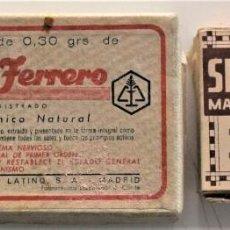Cajas y cajitas metálicas: LOTE 2 CAJAS DE CARTÓN DE MEDICAMENTOS FÓSFOR FERRERO Y SELLOS EUPITA. Lote 223025796