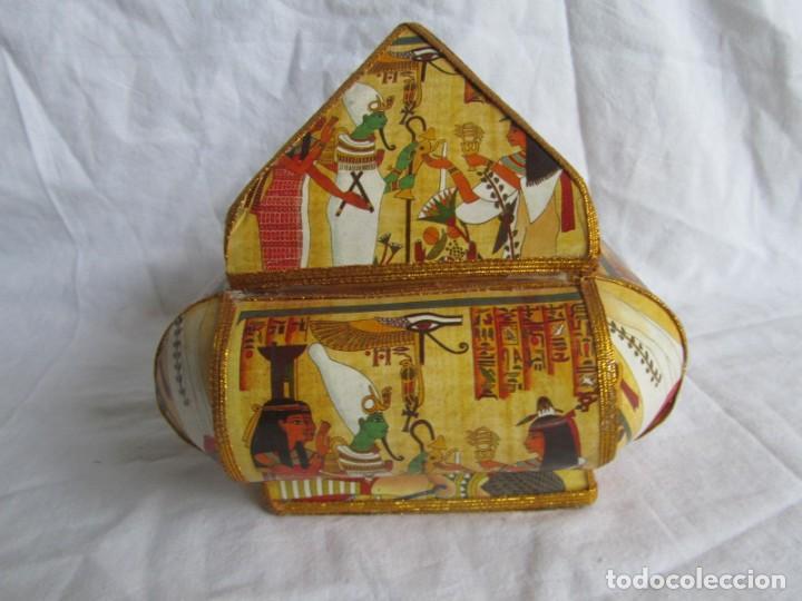 Cajas y cajitas metálicas: Curiosa caja de cartón plastificado tipo papiro, motivos del antiguo Egipto - Foto 3 - 224512302