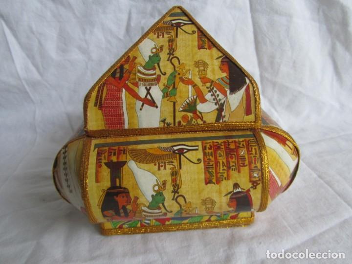 Cajas y cajitas metálicas: Curiosa caja de cartón plastificado tipo papiro, motivos del antiguo Egipto - Foto 4 - 224512302