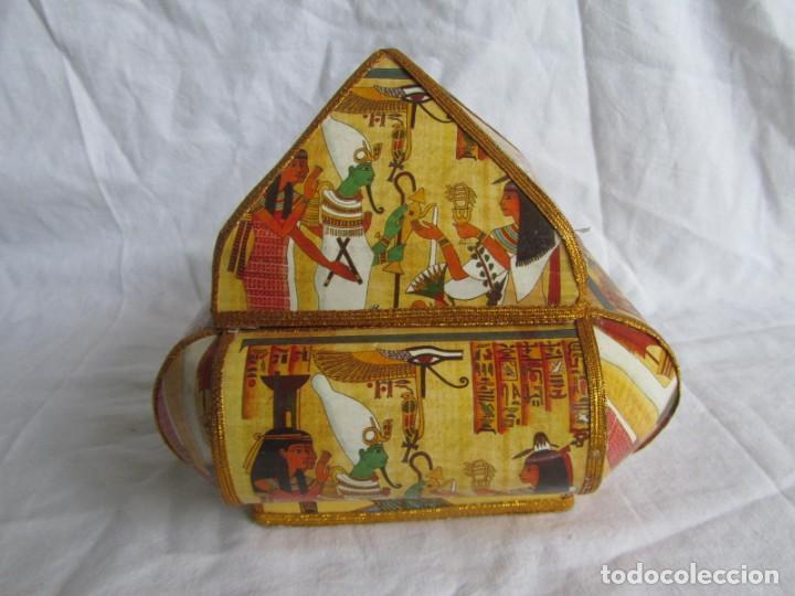 Cajas y cajitas metálicas: Curiosa caja de cartón plastificado tipo papiro, motivos del antiguo Egipto - Foto 5 - 224512302