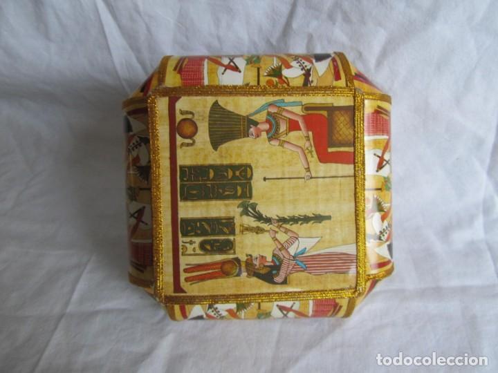 Cajas y cajitas metálicas: Curiosa caja de cartón plastificado tipo papiro, motivos del antiguo Egipto - Foto 7 - 224512302