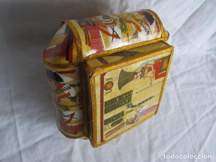 Cajas y cajitas metálicas: Curiosa caja de cartón plastificado tipo papiro, motivos del antiguo Egipto - Foto 8 - 224512302