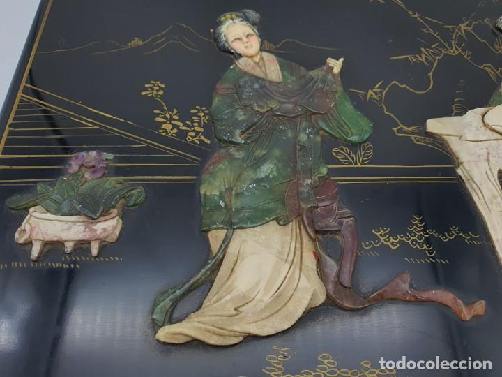 Cajas y cajitas metálicas: PRECIOSA CAJA LACADA CHINA, CON INCRUSTACIONES EN RELIEVE - Foto 2 - 224584120