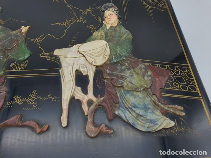 Cajas y cajitas metálicas: PRECIOSA CAJA LACADA CHINA, CON INCRUSTACIONES EN RELIEVE - Foto 3 - 224584120