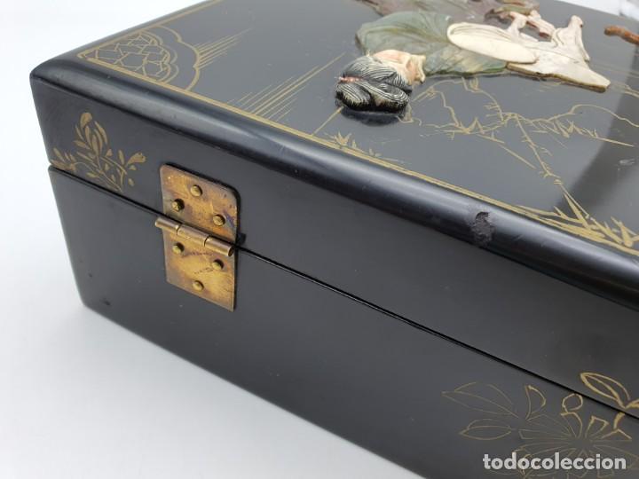 Cajas y cajitas metálicas: PRECIOSA CAJA LACADA CHINA, CON INCRUSTACIONES EN RELIEVE - Foto 9 - 224584120