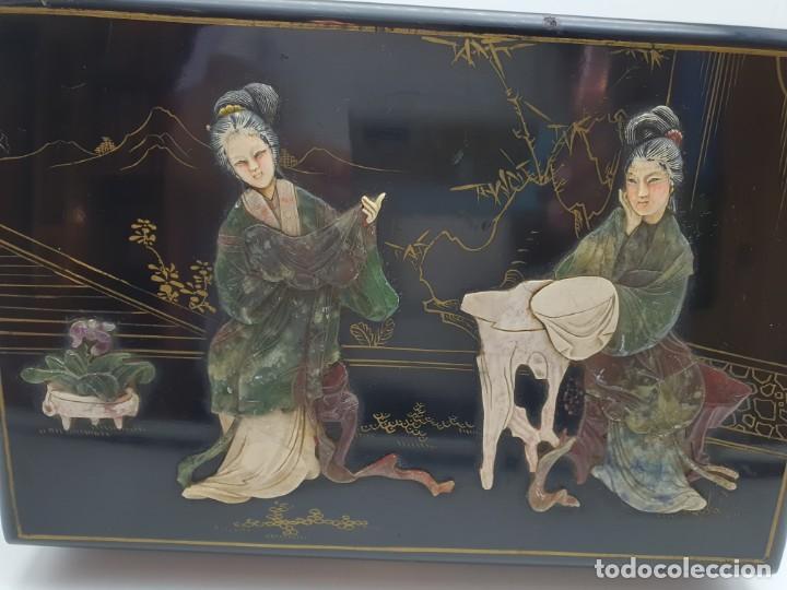 Cajas y cajitas metálicas: PRECIOSA CAJA LACADA CHINA, CON INCRUSTACIONES EN RELIEVE - Foto 13 - 224584120