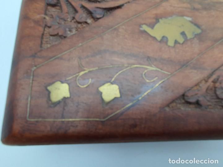 Cajas y cajitas metálicas: PRECIOSA CAJA EN MADERA TEKA CON INCRUSTACIONES EN BRONCE ( VER FOTOS ) - Foto 2 - 226290707