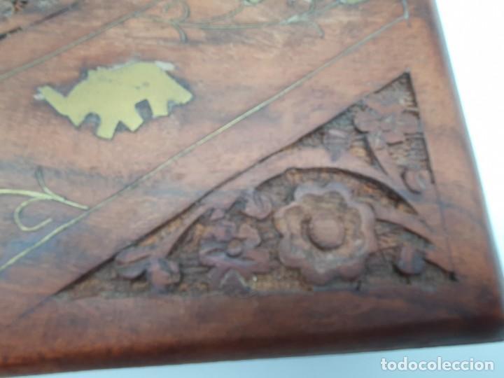 Cajas y cajitas metálicas: PRECIOSA CAJA EN MADERA TEKA CON INCRUSTACIONES EN BRONCE ( VER FOTOS ) - Foto 3 - 226290707
