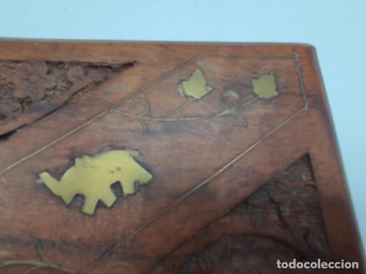 Cajas y cajitas metálicas: PRECIOSA CAJA EN MADERA TEKA CON INCRUSTACIONES EN BRONCE ( VER FOTOS ) - Foto 4 - 226290707