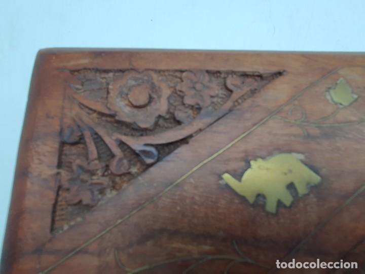 Cajas y cajitas metálicas: PRECIOSA CAJA EN MADERA TEKA CON INCRUSTACIONES EN BRONCE ( VER FOTOS ) - Foto 5 - 226290707