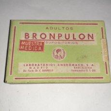Casse e cassette metalliche: CAJA DE FARMACIA BRONPULON LAB. ANDROMACO // SIN DESPRECINTAR. Lote 234058655