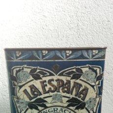"""Caixas e caixinhas metálicas: CAJA DE LATA CHOCOLATES """"LA ESPAÑA"""". Lote 235923560"""
