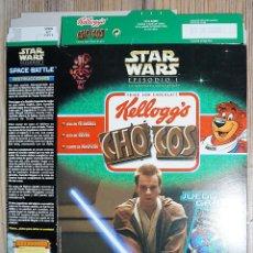 Cajas y cajitas metálicas: ENVASE CAJA CARTÓN CHOCOS KELLOGG'S STAR WARS GUERRA DE LAS GALAXIAS 2000. Lote 237018960