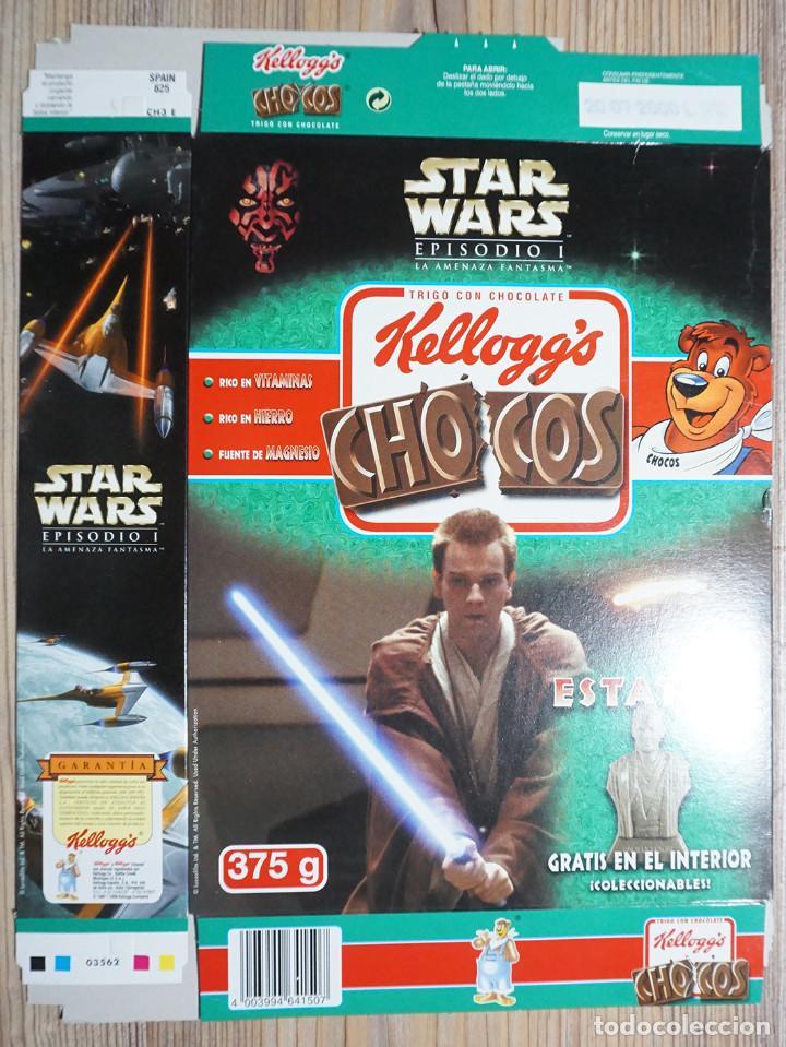 ENVASE CAJA CARTÓN CHOCOS KELLOGG'S STAR WARS GUERRA DE LAS GALAXIAS 2000 KELLOGG KELLOGGS (Coleccionismo - Cajas y Cajitas Metálicas)