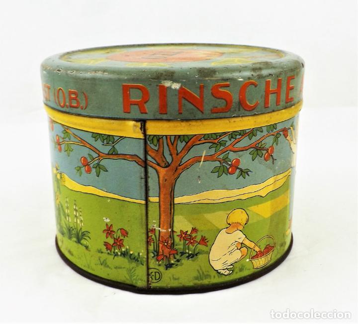 Cajas y cajitas metálicas: Lata de conservas T.E.O. (Alemania) años 30/40 Sello KD - Foto 5 - 237140920