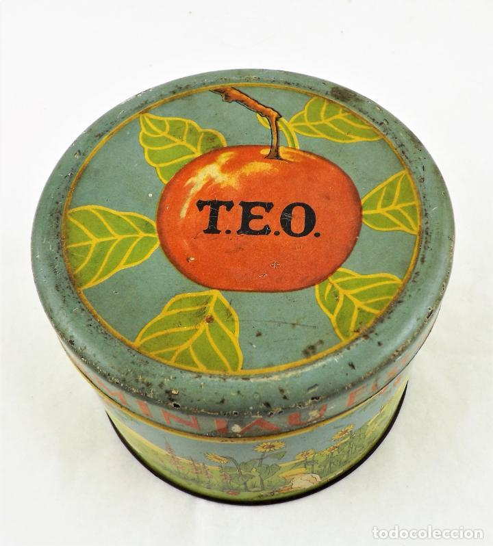 Cajas y cajitas metálicas: Lata de conservas T.E.O. (Alemania) años 30/40 Sello KD - Foto 6 - 237140920