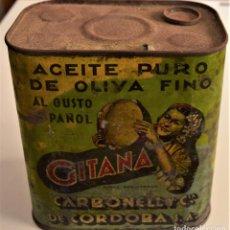 Cajas y cajitas metálicas: LATA DE ACEITE PURO DE OLIVA FINO GITANA - AÑOS 30 - CARBONEL Y CÍA. DE CÓRDOBA S.A.. Lote 241156580