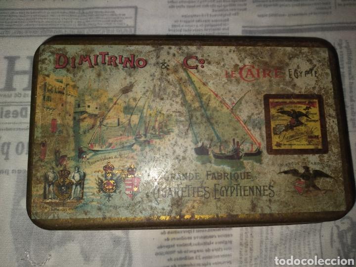 Cajas y cajitas metálicas: ANTIGUA CAJA DE METAL CIGARROS EGIPTO DIMITRINO & CO LE CAIRE. 17x10 cm - Foto 3 - 242108780