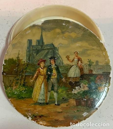 Cajas y cajitas metálicas: Caja redonda con pinturas miniatura. - Foto 3 - 244491590