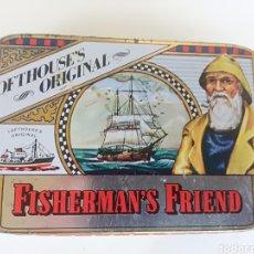 Cajas y cajitas metálicas: FISHERMAN'S FRIEND LOFTHOUSES ORIGINAL CAJITA DE LATA LITOGRAFIADA CARAMELOS VINTAGE. Lote 246591175