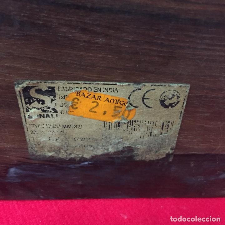 Cajas y cajitas metálicas: Caja de madera, artesanía, hecha a mano, Made in India, con incrustación de Taj Mahal en metal - Foto 4 - 252659305