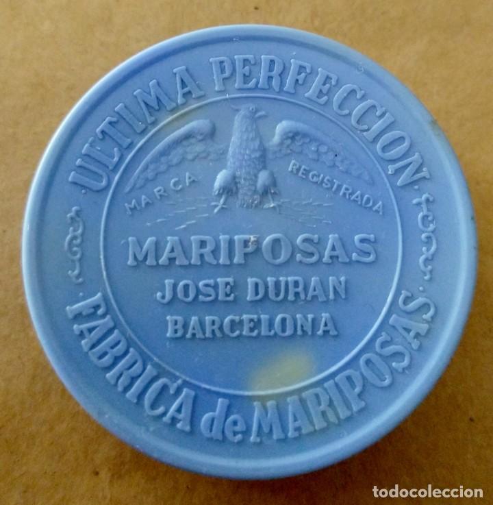 PRECIOSA Y ANTIGUA CAJITA. FÁBRICA DE MARIPOSAS JOSÉ DURAN, BARCELONA. ÚLTIMA PERFECCIÓN. (Coleccionismo - Cajas y Cajitas Metálicas)