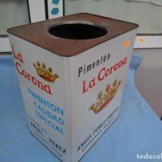 Cajas y cajitas metálicas: LATA DE PIMENTÓN LA CORONA, ÁNGEL PÉREZ CORTÉS, ESPINARDO MURCIA. Lote 254669245