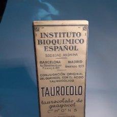 Caixas e caixinhas metálicas: CAJA DE FARMACIA TAUROCOLO INSTUTO BIOQUIMICO ESPAÑOLJ. URIACH // SIN DESPRECINTAR. Lote 255468655