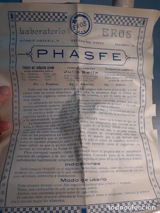 Cajas y cajitas metálicas: CAJA DE FARMACIA FRASCO JARABE ELIXIR PHASFE LABORATORIOS EROS JULIO SELFA // SIN DESPRECINTAR - Foto 4 - 255652140