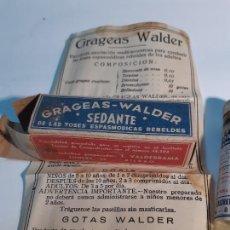 Cajas y cajitas metálicas: CAJA DE FARMACIA GRAGEAS WALDER SEDANTE CON BELLADONA // SIN DESPRECINTAR AÑOS 20. Lote 259441635