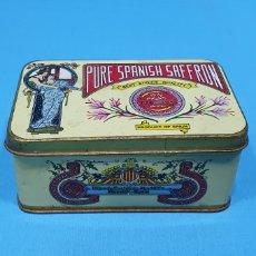 Cajas y cajitas metálicas: CAJA METÁLICA - PURE SPANISH SAFFRON - NOVELDA (ESPAÑA) - MEDIDAS: 12,5 × 8 × 5,5 CM.. Lote 261681340